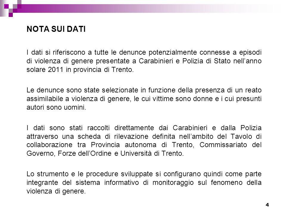 4 NOTA SUI DATI I dati si riferiscono a tutte le denunce potenzialmente connesse a episodi di violenza di genere presentate a Carabinieri e Polizia di