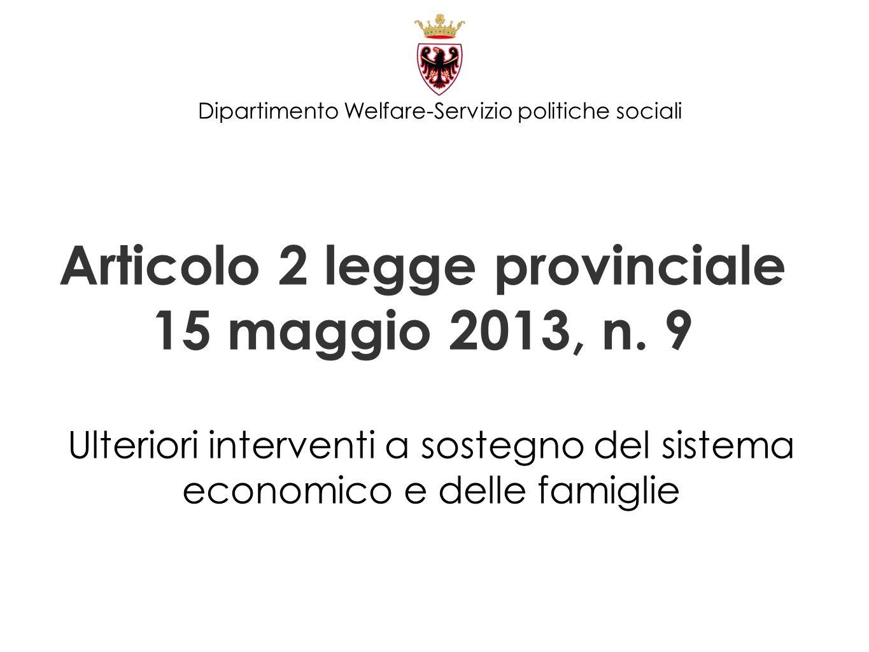 Articolo 2 legge provinciale 15 maggio 2013, n. 9 Ulteriori interventi a sostegno del sistema economico e delle famiglie Dipartimento Welfare-Servizio