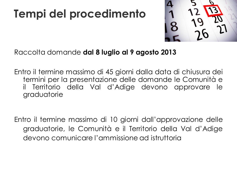 Tempi del procedimento Raccolta domande dal 8 luglio al 9 agosto 2013 Entro il termine massimo di 45 giorni dalla data di chiusura dei termini per la