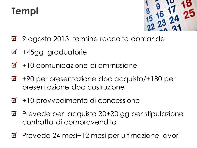 Tempi 9 agosto 2013 termine raccolta domande +45gg graduatorie +10 comunicazione di ammissione +90 per presentazione doc acquisto/+180 per presentazio