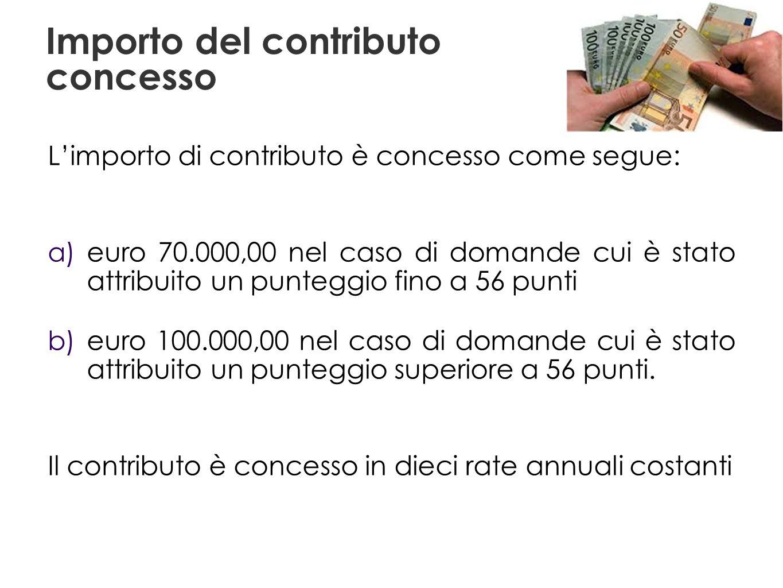 Importo del contributo concesso Limporto di contributo è concesso come segue: a) euro 70.000,00 nel caso di domande cui è stato attribuito un punteggio fino a 56 punti b) euro 100.000,00 nel caso di domande cui è stato attribuito un punteggio superiore a 56 punti.