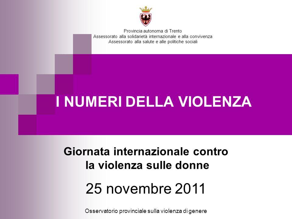 I NUMERI DELLA VIOLENZA Osservatorio provinciale sulla violenza di genere Provincia autonoma di Trento Assessorato alla solidarietà internazionale e a