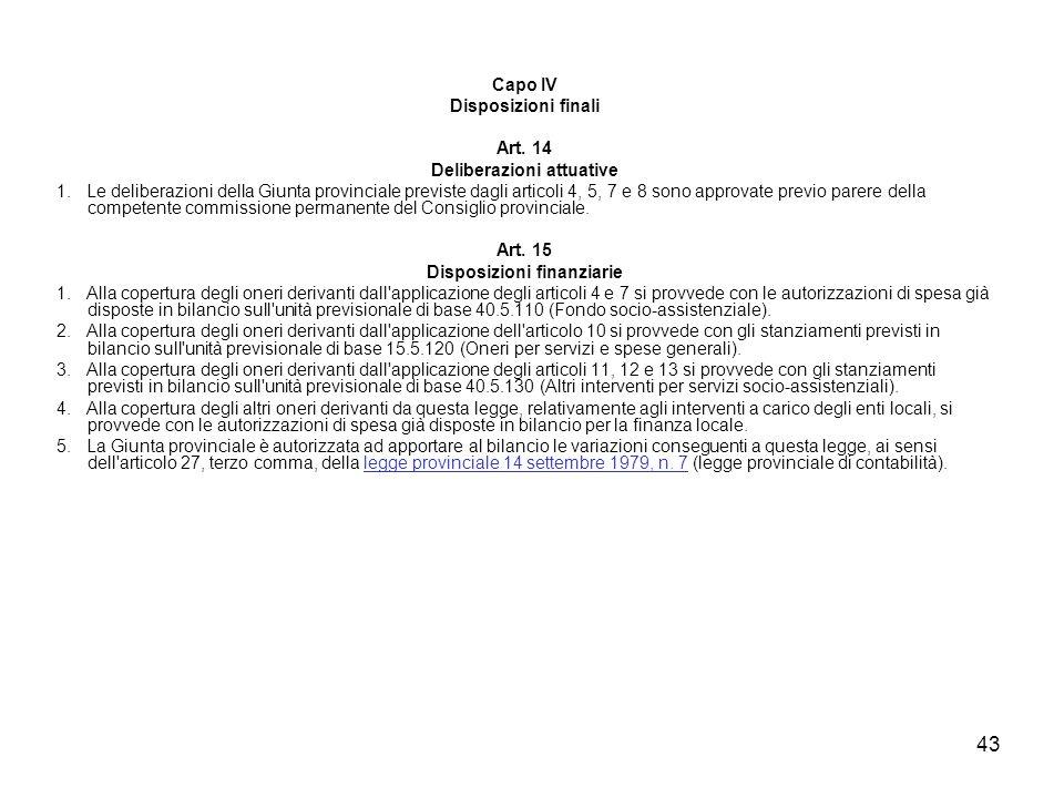 43 Capo IV Disposizioni finali Art. 14 Deliberazioni attuative 1. Le deliberazioni della Giunta provinciale previste dagli articoli 4, 5, 7 e 8 sono a
