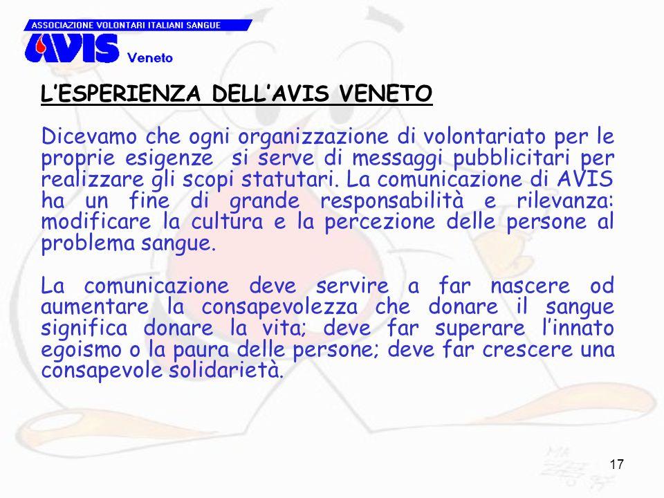 17 LESPERIENZA DELLAVIS VENETO Dicevamo che ogni organizzazione di volontariato per le proprie esigenze si serve di messaggi pubblicitari per realizzare gli scopi statutari.