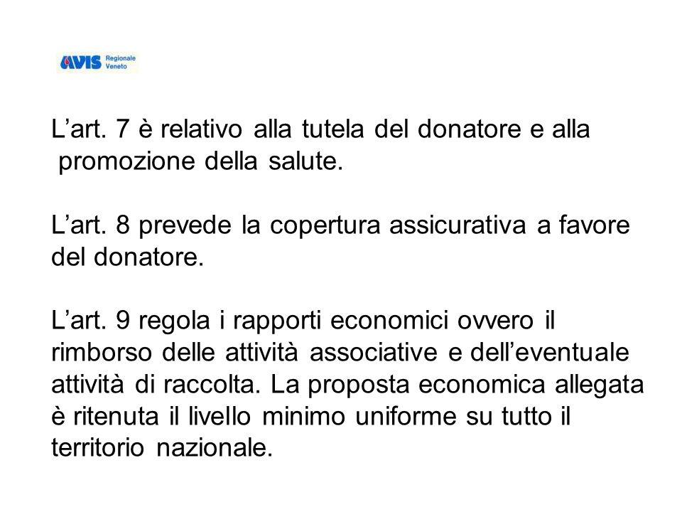 Lart. 7 è relativo alla tutela del donatore e alla promozione della salute.