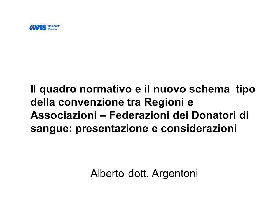 Il quadro normativo e il nuovo schema tipo della convenzione tra Regioni e Associazioni – Federazioni dei Donatori di sangue: presentazione e considerazioni Alberto dott.