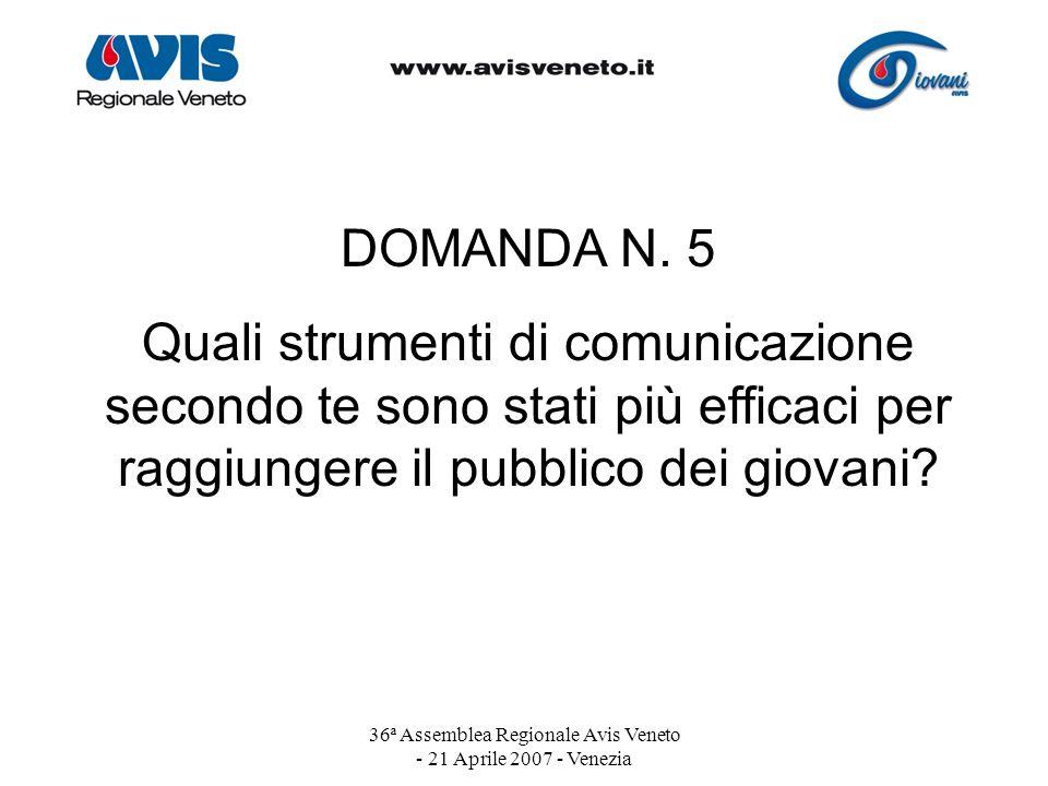 36ª Assemblea Regionale Avis Veneto - 21 Aprile 2007 - Venezia DOMANDA N. 5 Quali strumenti di comunicazione secondo te sono stati più efficaci per ra