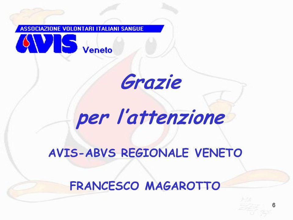 6 AVIS-ABVS REGIONALE VENETO FRANCESCO MAGAROTTO Grazie per lattenzione