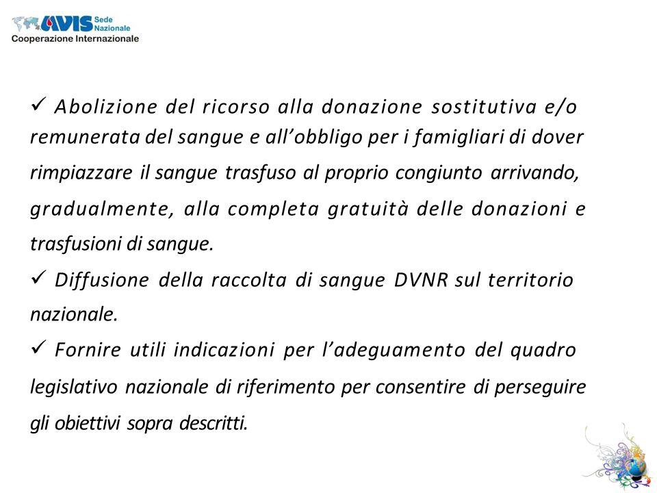 Abolizione del ricorso alla donazione sostitutiva e/o remunerata del sangue e allobbligo per i famigliari di dover rimpiazzare il sangue trasfuso al proprio congiunto arrivando, gradualmente, alla completa gratuità delle donazioni e trasfusioni di sangue.