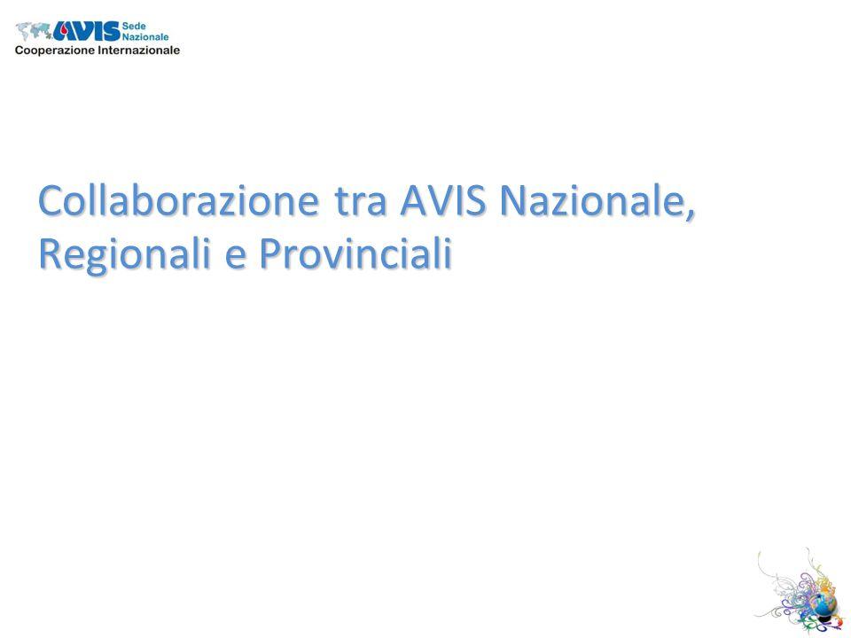 Collaborazione tra AVIS Nazionale, Regionali e Provinciali