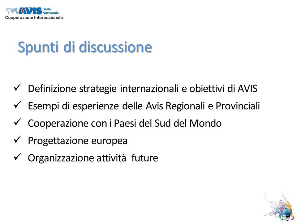 Spunti di discussione Definizione strategie internazionali e obiettivi di AVIS Esempi di esperienze delle Avis Regionali e Provinciali Cooperazione con i Paesi del Sud del Mondo Progettazione europea Organizzazione attività future