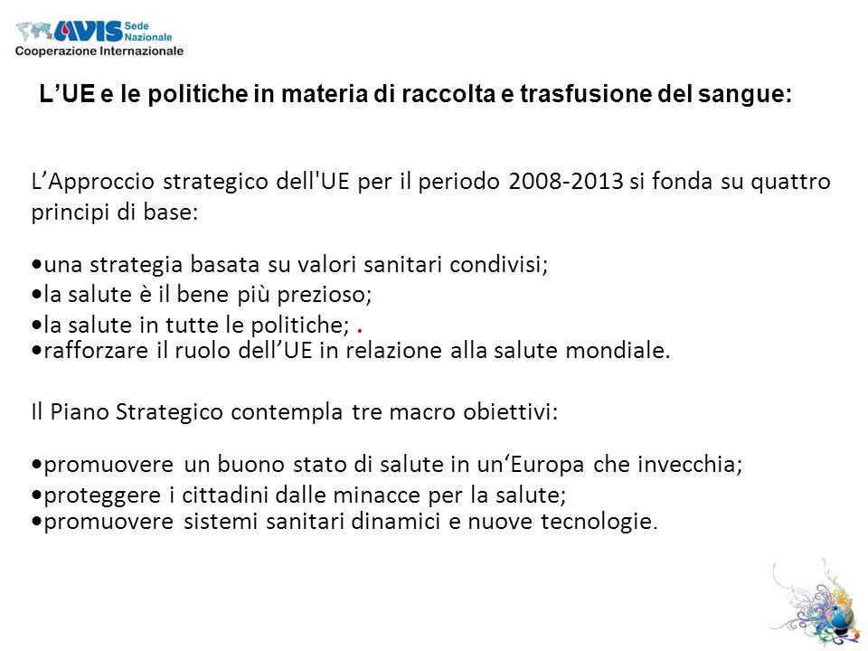LApproccio strategico dell UE per il periodo 2008-2013 si fonda su quattro principi di base: una strategia basata su valori sanitari condivisi; la salute è il bene più prezioso; la salute in tutte le politiche;.