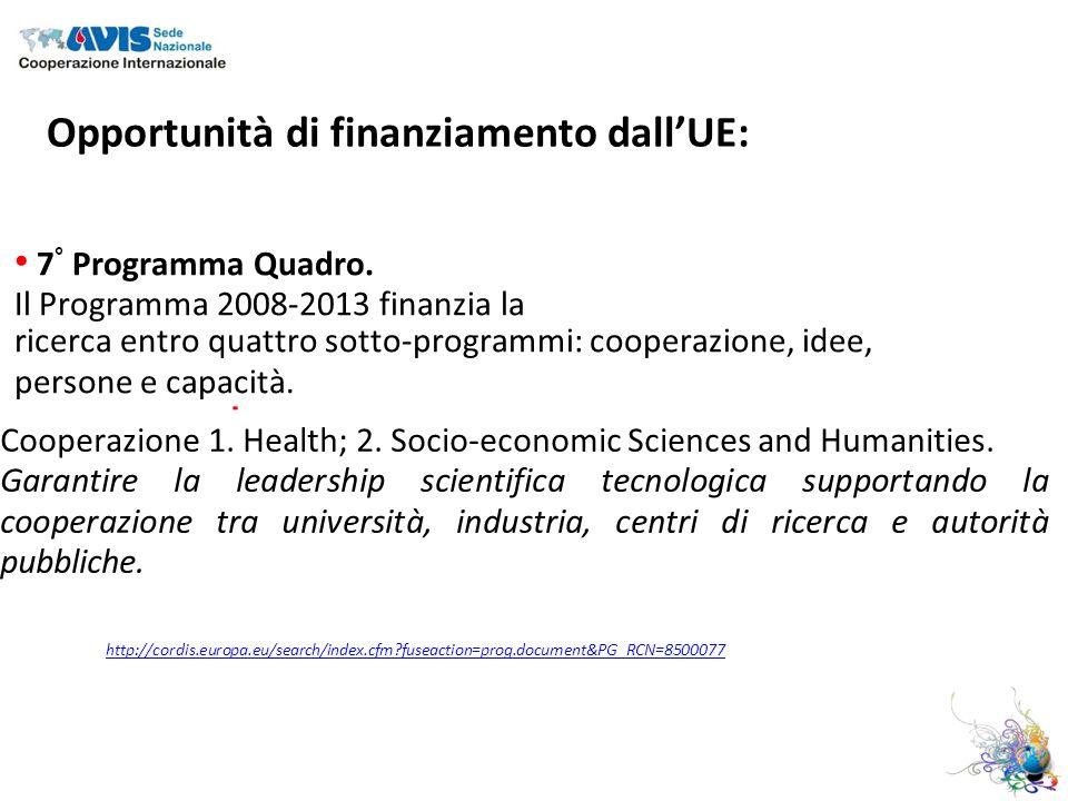 Opportunità di finanziamento dallUE: 7 ° Programma Quadro.