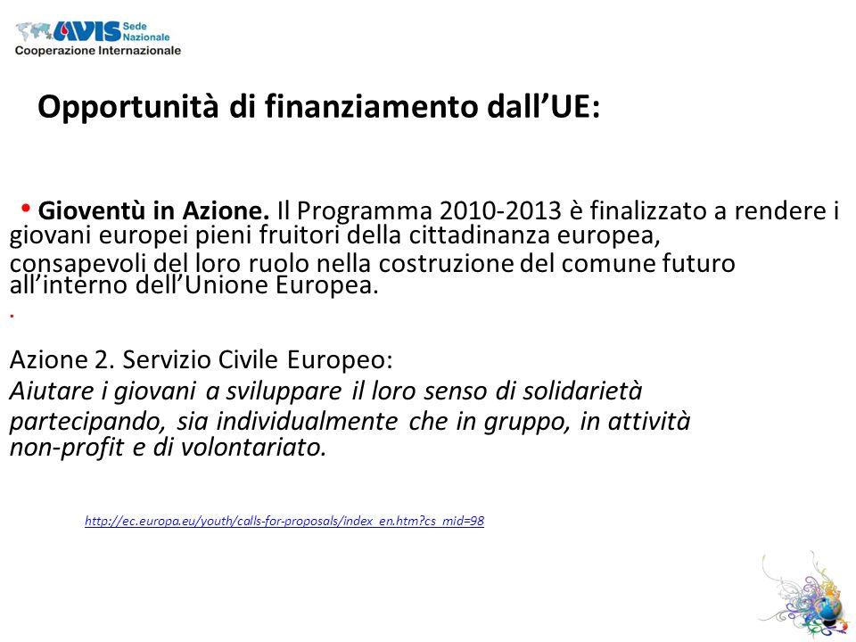 Opportunità di finanziamento dallUE: Gioventù in Azione.