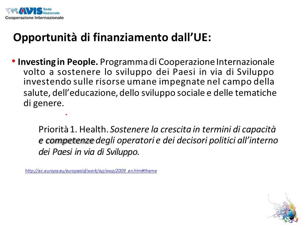 Opportunità di finanziamento dallUE: Investing in People.