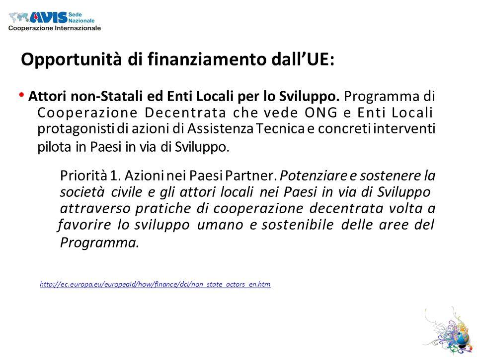 Opportunità di finanziamento dallUE: Attori non-Statali ed Enti Locali per lo Sviluppo.