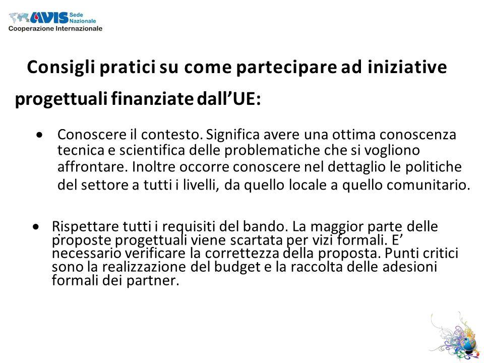 Consigli pratici su come partecipare ad iniziative progettuali finanziate dallUE: Conoscere il contesto.