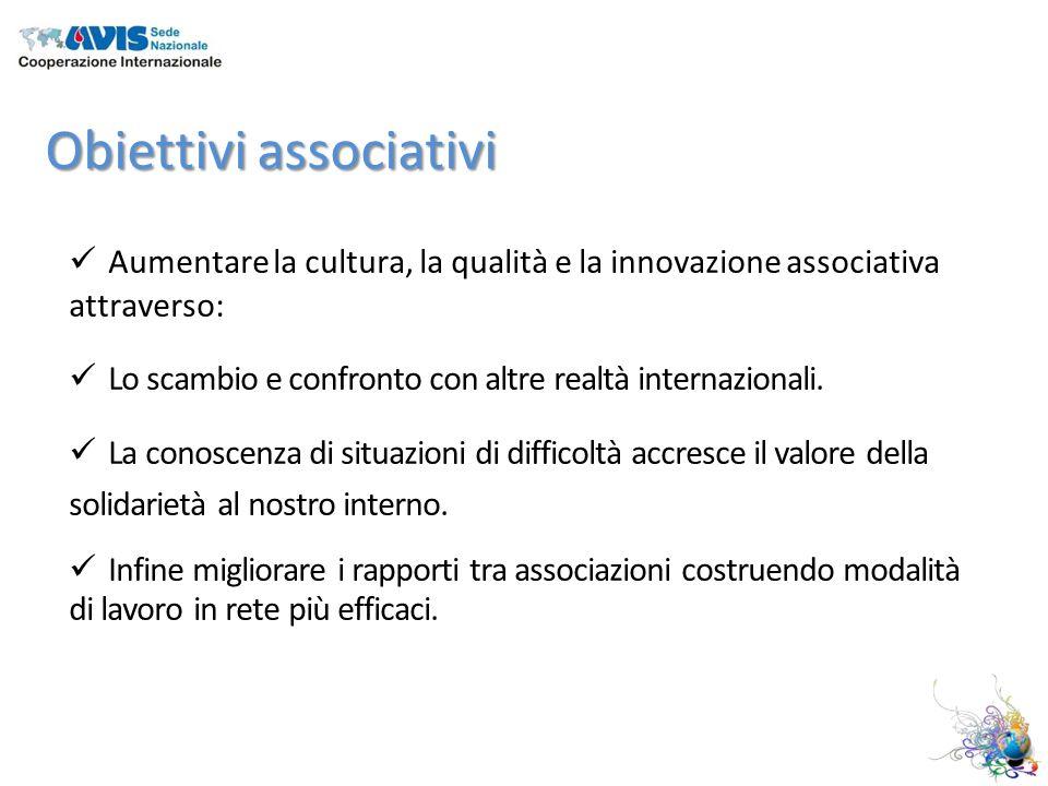 Obiettivi associativi Aumentare la cultura, la qualità e la innovazione associativa attraverso: Lo scambio e confronto con altre realtà internazionali.