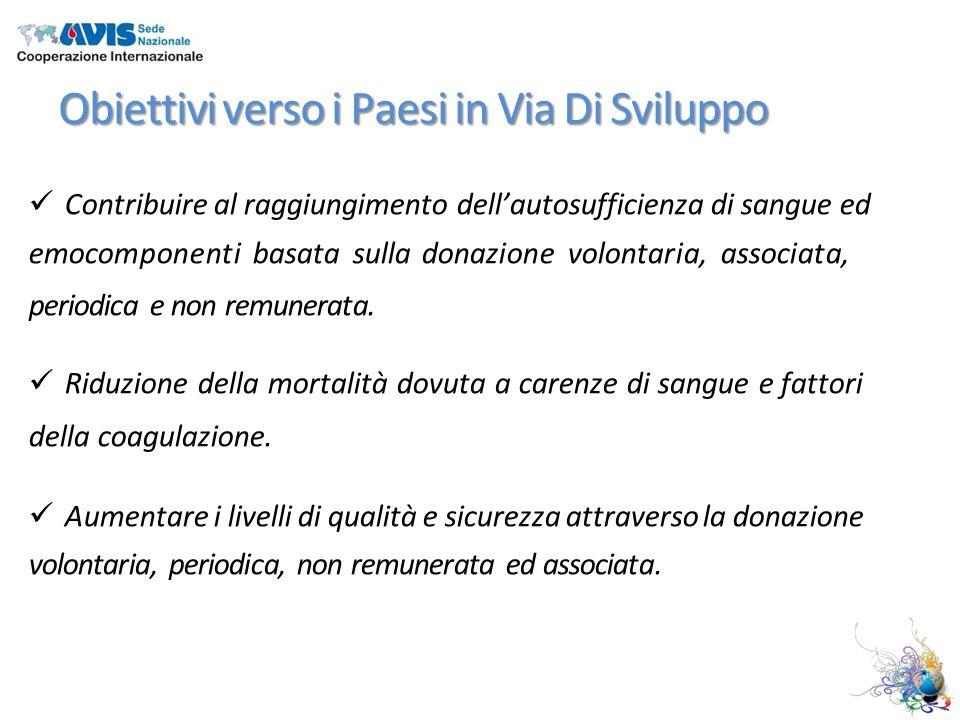 Obiettivi verso i Paesi in Via Di Sviluppo Contribuire al raggiungimento dellautosufficienza di sangue ed emocomponenti basata sulla donazione volontaria, associata, periodica e non remunerata.