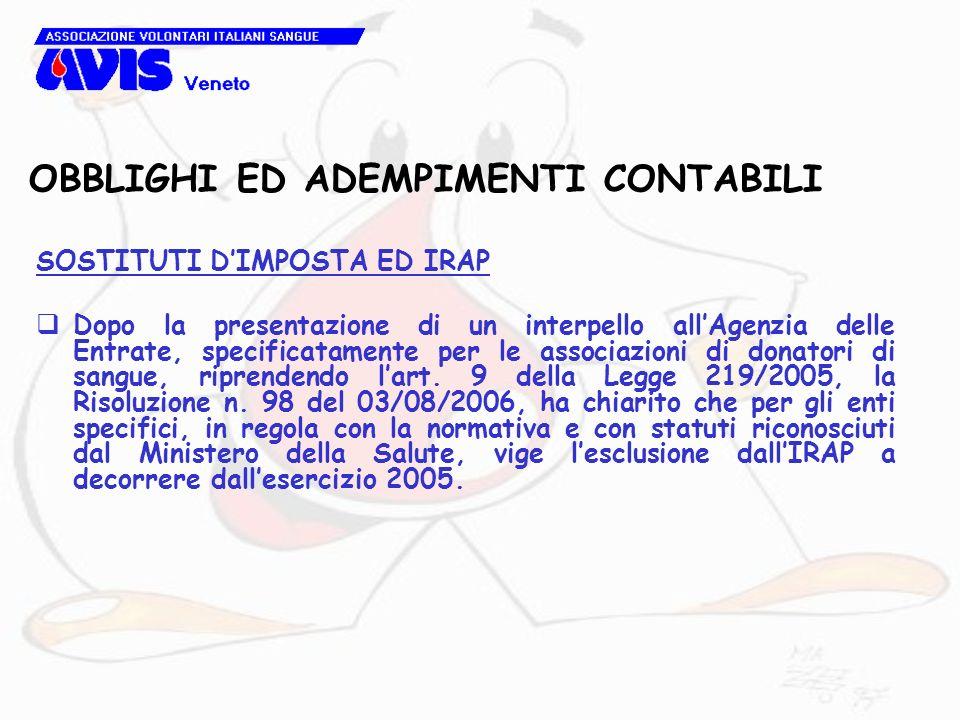 OBBLIGHI ED ADEMPIMENTI CONTABILI SOSTITUTI DIMPOSTA ED IRAP Dopo la presentazione di un interpello allAgenzia delle Entrate, specificatamente per le