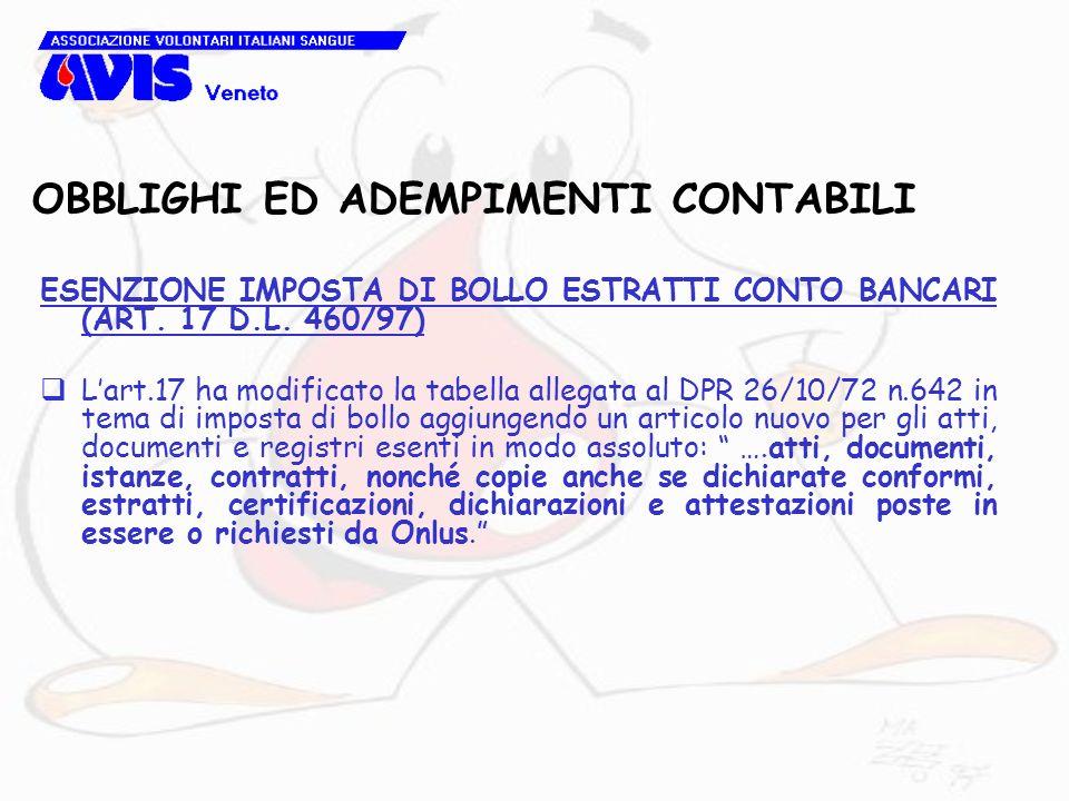 OBBLIGHI ED ADEMPIMENTI CONTABILI ESENZIONE IMPOSTA DI BOLLO ESTRATTI CONTO BANCARI (ART. 17 D.L. 460/97) Lart.17 ha modificato la tabella allegata al