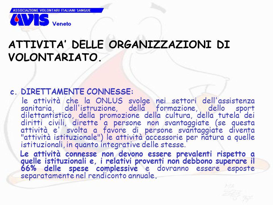 ATTIVITA DELLE ORGANIZZAZIONI DI VOLONTARIATO. c. DIRETTAMENTE CONNESSE: le attività che la ONLUS svolge nei settori dell'assistenza sanitaria, dell'i