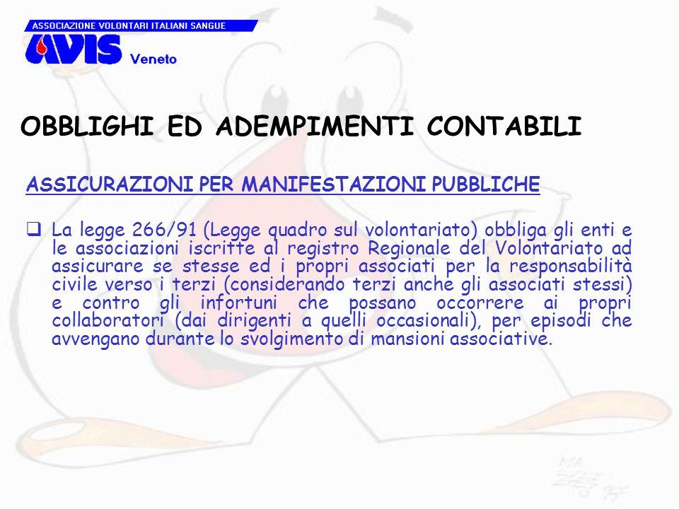 OBBLIGHI ED ADEMPIMENTI CONTABILI ASSICURAZIONI PER MANIFESTAZIONI PUBBLICHE La legge 266/91 (Legge quadro sul volontariato) obbliga gli enti e le ass