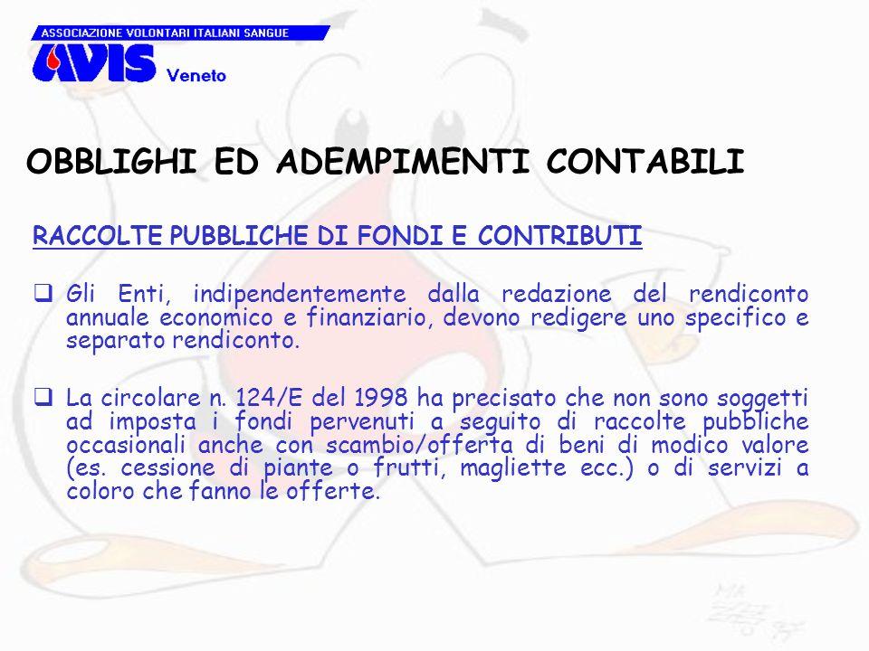 OBBLIGHI ED ADEMPIMENTI CONTABILI RACCOLTE PUBBLICHE DI FONDI E CONTRIBUTI Gli Enti, indipendentemente dalla redazione del rendiconto annuale economic