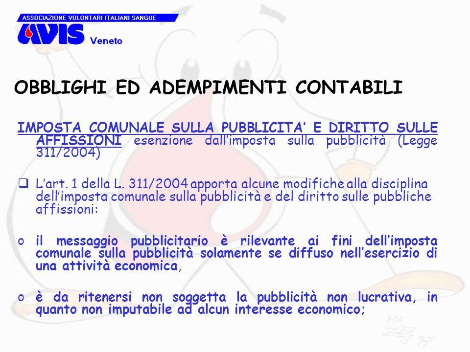 OBBLIGHI ED ADEMPIMENTI CONTABILI IMPOSTA COMUNALE SULLA PUBBLICITA E DIRITTO SULLE AFFISSIONI esenzione dallimposta sulla pubblicità (Legge 311/2004) Lart.
