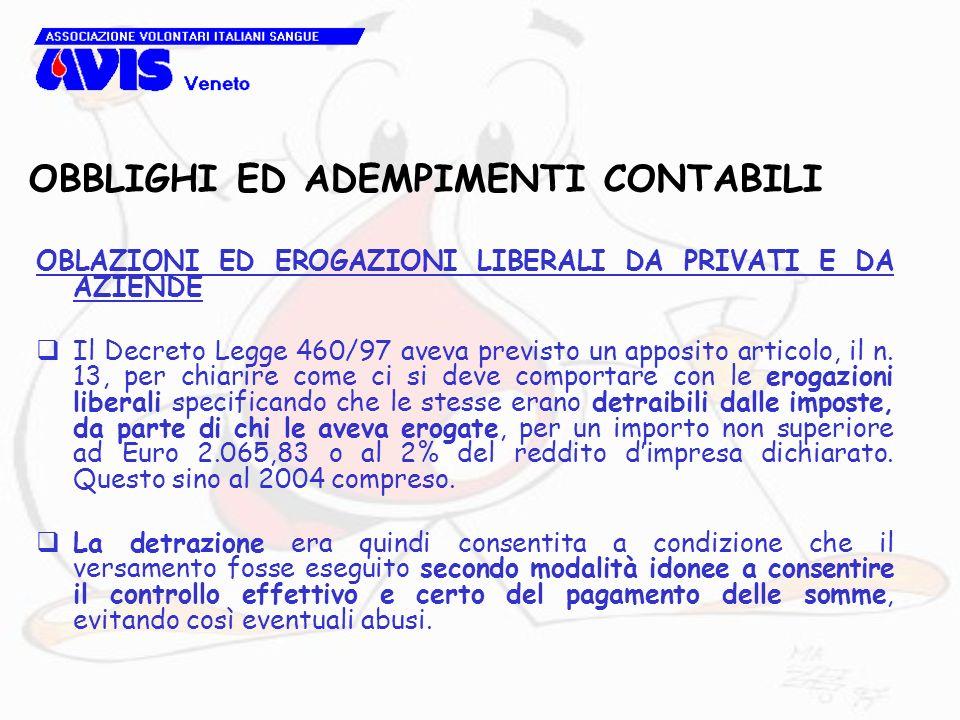 OBBLIGHI ED ADEMPIMENTI CONTABILI OBLAZIONI ED EROGAZIONI LIBERALI DA PRIVATI E DA AZIENDE Il Decreto Legge 460/97 aveva previsto un apposito articolo