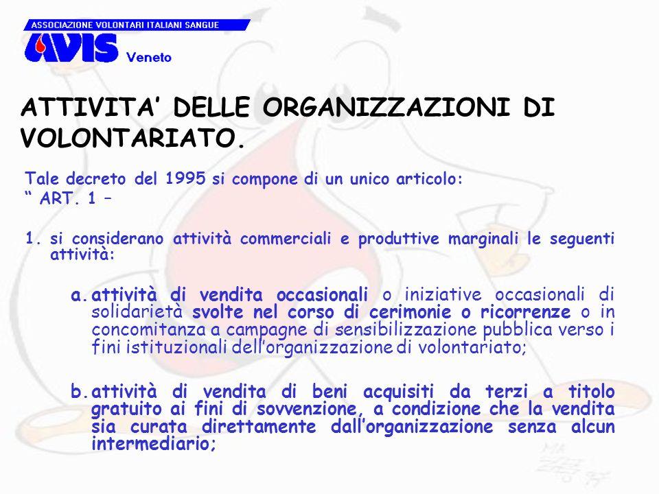 ATTIVITA DELLE ORGANIZZAZIONI DI VOLONTARIATO. Tale decreto del 1995 si compone di un unico articolo: ART. 1 – 1.si considerano attività commerciali e