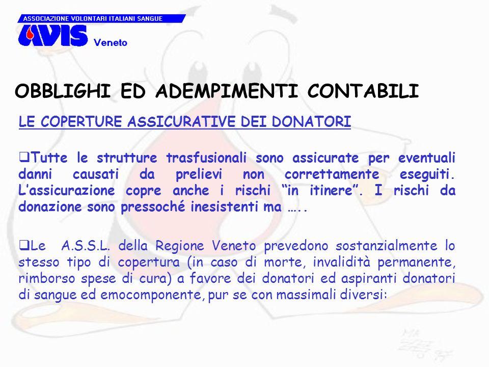OBBLIGHI ED ADEMPIMENTI CONTABILI LE COPERTURE ASSICURATIVE DEI DONATORI Tutte le strutture trasfusionali sono assicurate per eventuali danni causati da prelievi non correttamente eseguiti.