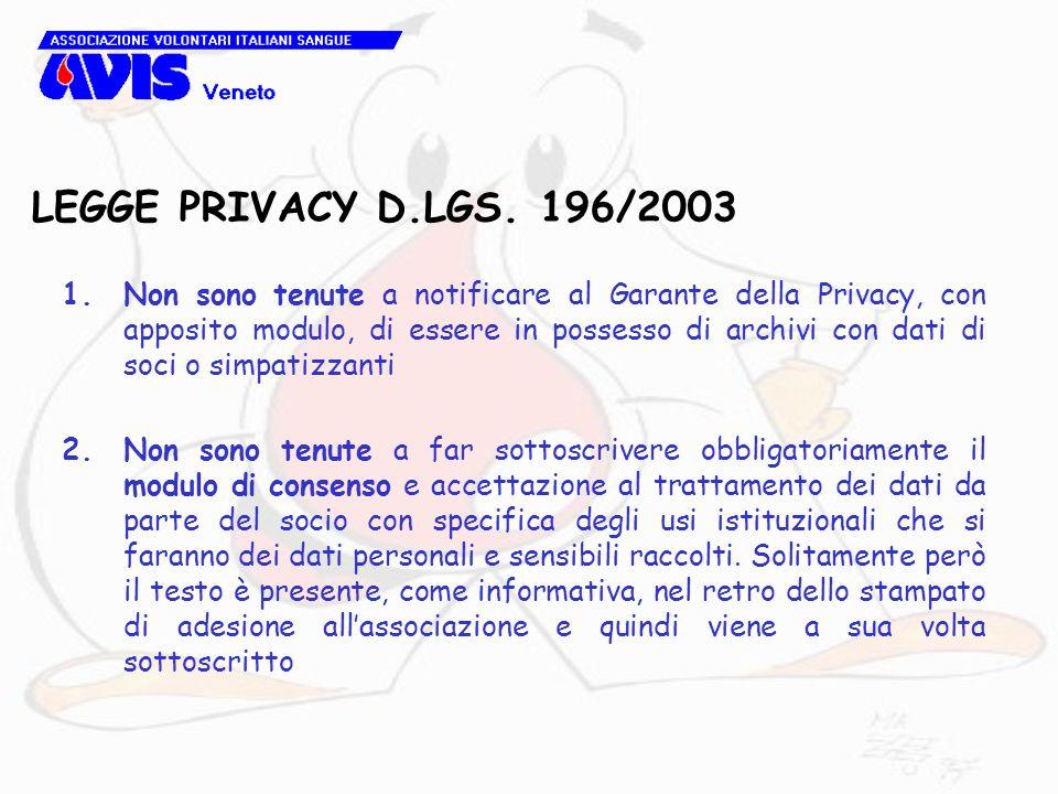LEGGE PRIVACY D.LGS. 196/2003 1.Non sono tenute a notificare al Garante della Privacy, con apposito modulo, di essere in possesso di archivi con dati