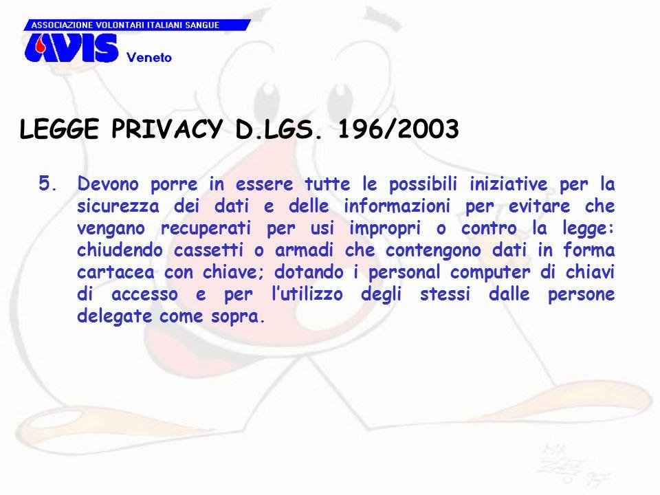 LEGGE PRIVACY D.LGS. 196/2003 5.Devono porre in essere tutte le possibili iniziative per la sicurezza dei dati e delle informazioni per evitare che ve