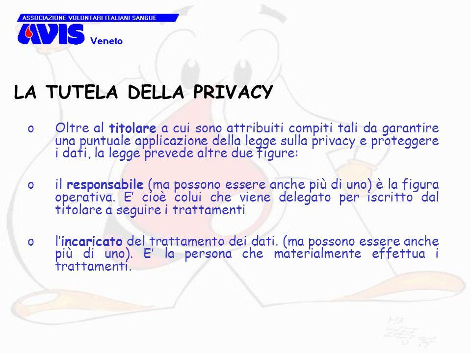 LA TUTELA DELLA PRIVACY oOltre al titolare a cui sono attribuiti compiti tali da garantire una puntuale applicazione della legge sulla privacy e prote