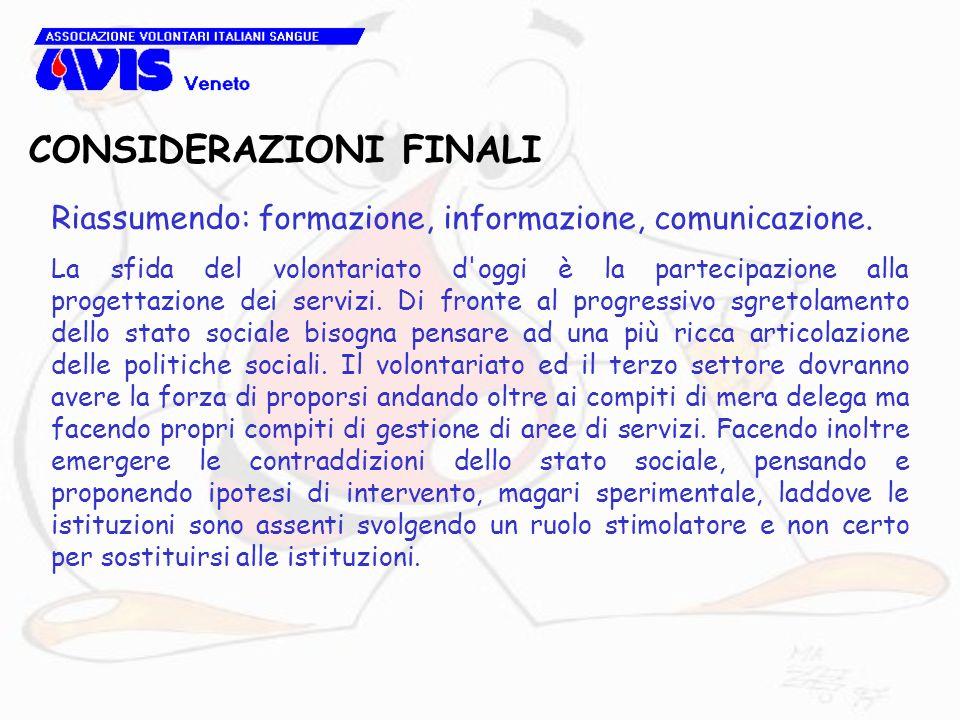CONSIDERAZIONI FINALI Riassumendo: formazione, informazione, comunicazione.