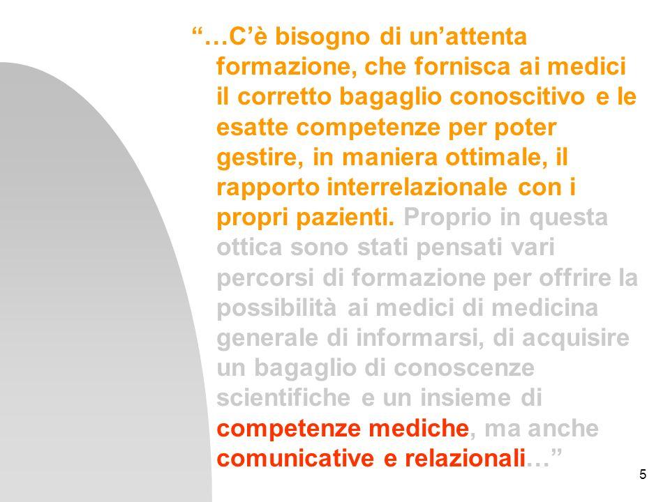 5 …Cè bisogno di unattenta formazione, che fornisca ai medici il corretto bagaglio conoscitivo e le esatte competenze per poter gestire, in maniera ot