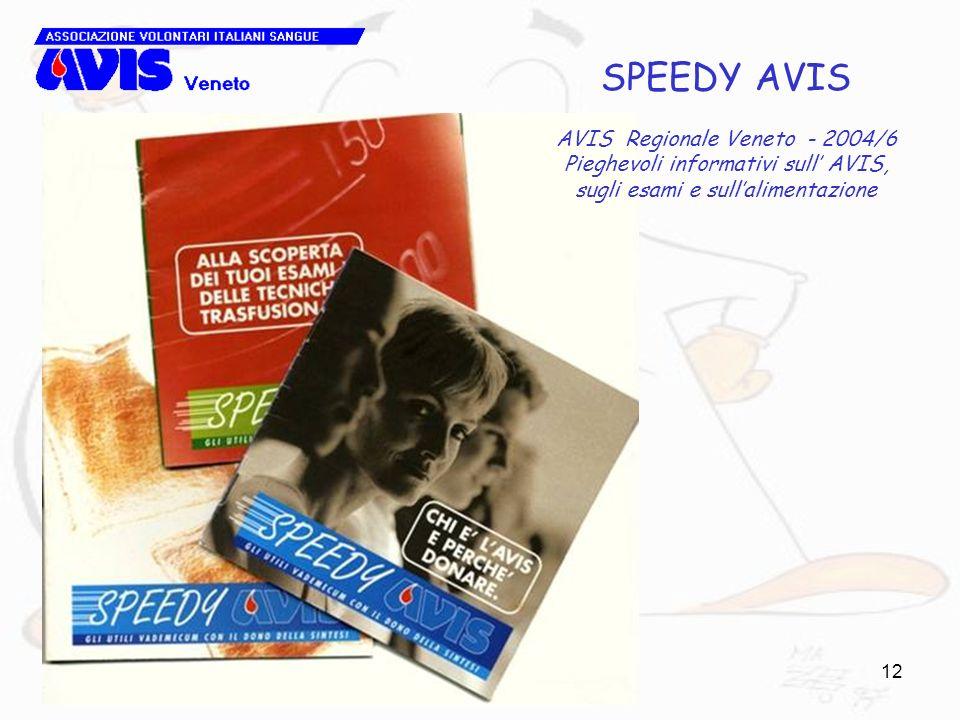 12 SPEEDY AVIS AVIS Regionale Veneto - 2004/6 Pieghevoli informativi sull AVIS, sugli esami e sullalimentazione
