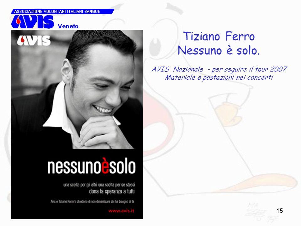 15 Tiziano Ferro Nessuno è solo. AVIS Nazionale - per seguire il tour 2007 Materiale e postazioni nei concerti