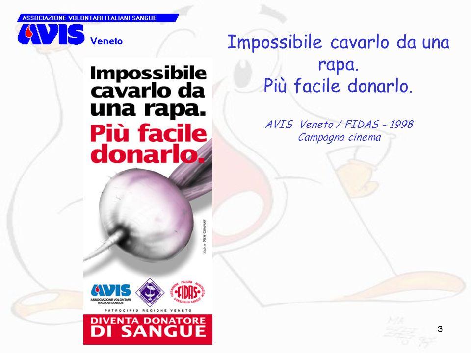 3 Impossibile cavarlo da una rapa. Più facile donarlo. AVIS Veneto / FIDAS - 1998 Campagna cinema