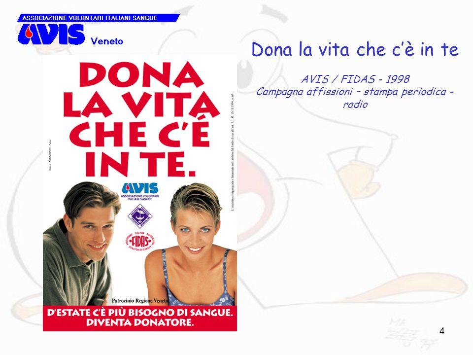 4 Dona la vita che cè in te AVIS / FIDAS - 1998 Campagna affissioni – stampa periodica - radio