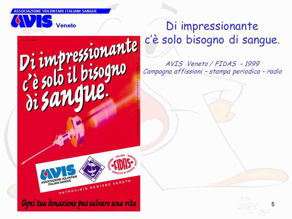 5 Di impressionante cè solo bisogno di sangue. AVIS Veneto / FIDAS - 1999 Campagna affissioni – stampa periodica - radio