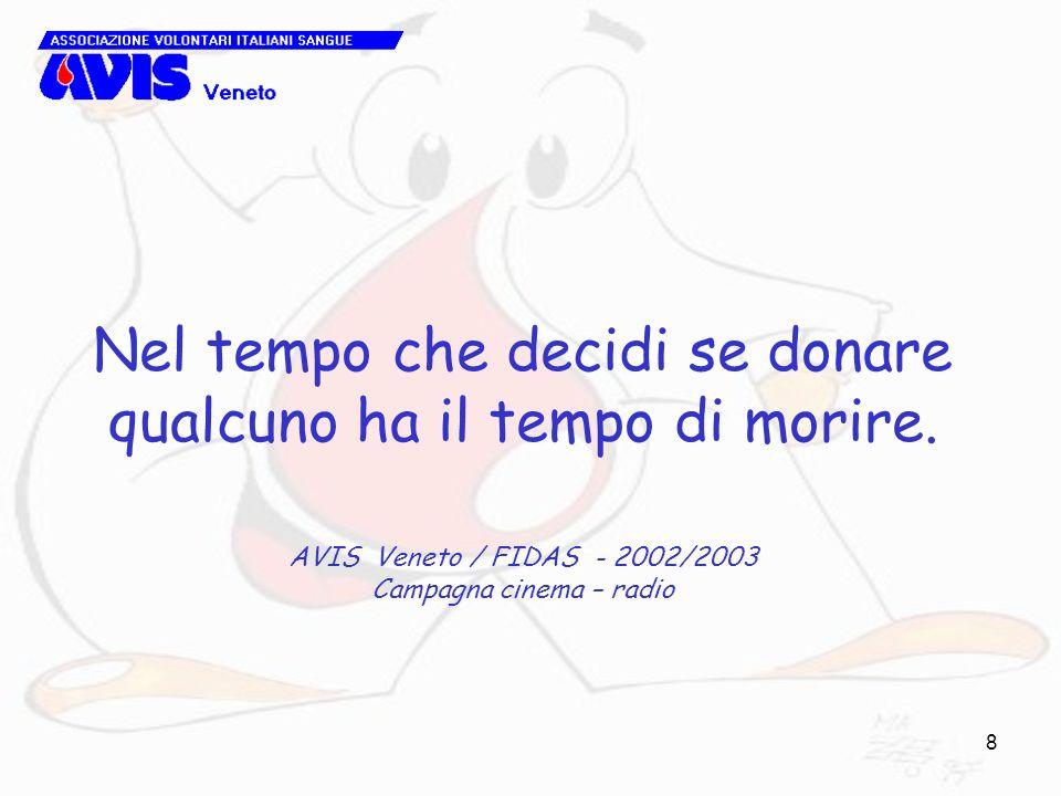 8 Nel tempo che decidi se donare qualcuno ha il tempo di morire. AVIS Veneto / FIDAS - 2002/2003 Campagna cinema – radio