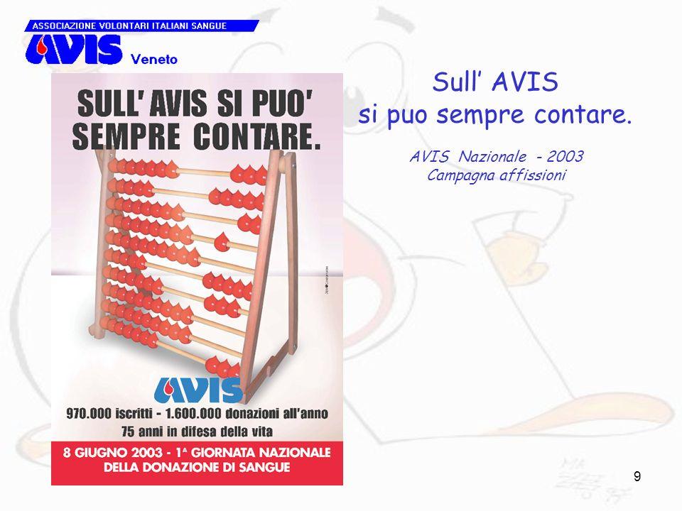 9 Sull AVIS si puo sempre contare. AVIS Nazionale - 2003 Campagna affissioni