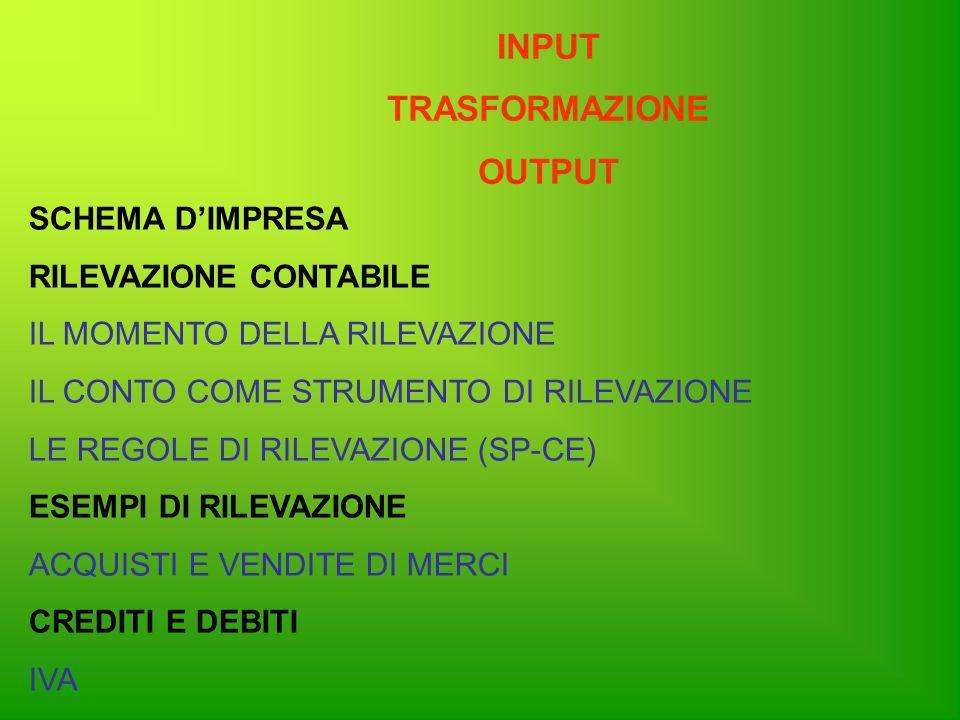 APPROCCIO ALLA CONTABILITA MEDIANTE IL MODELLO: INPUT - TRASFORMAZIONE - OUTPUT SISTEMA APERTO IMPRESA TRASFORMAZIONE: (Incremento dellutilità degli input) 1)Materiale 2)Nello spazio 3)Nel tempo FornitoriClienti INPUTOUTPUT Fattori produttivi Beni e/o Servizi (costi) (ricavi) Iva a credito Iva a debito Soldi debiti Soldi crediti Aspetto tecnico Aspetto finanziario Aspetto economico input – trasformazione - output