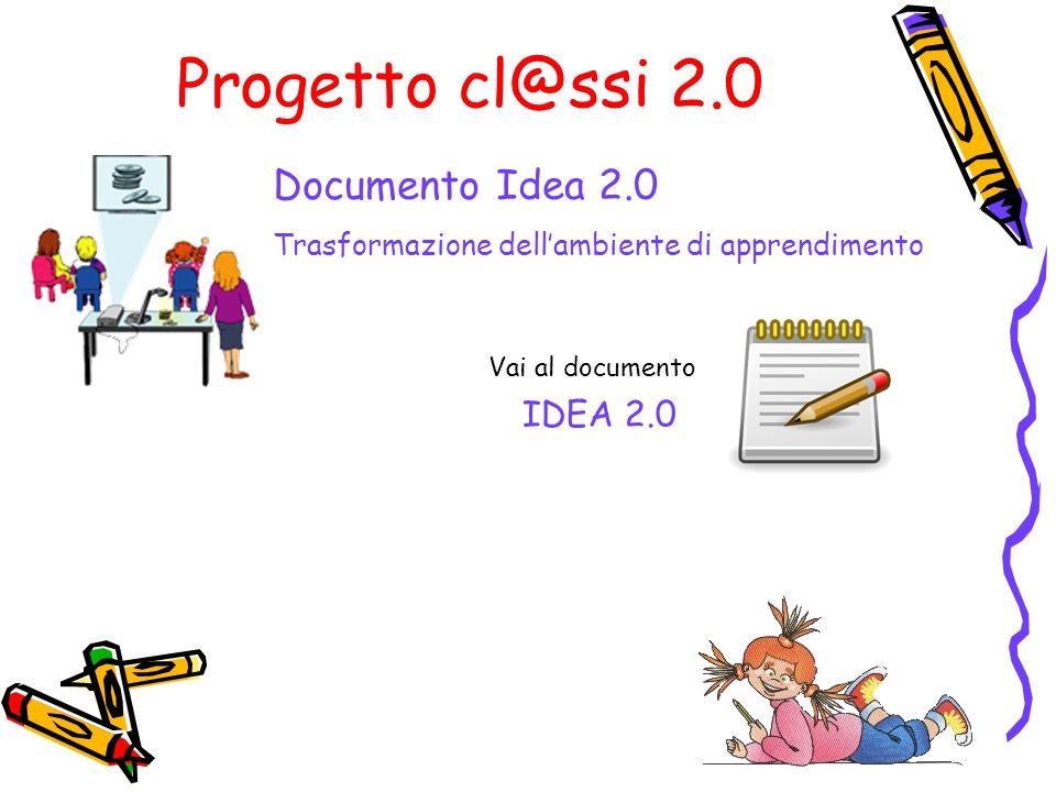 Progetto cl@ssi 2.0 IDEA 2.0 Vai al documento Documento Idea 2.0 Trasformazione dellambiente di apprendimento