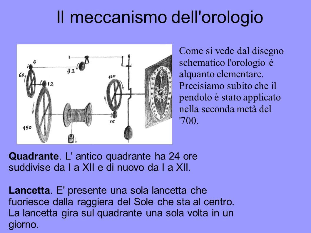 Il meccanismo dell'orologio Come si vede dal disegno schematico l'orologio è alquanto elementare. Precisiamo subito che il pendolo è stato applicato n