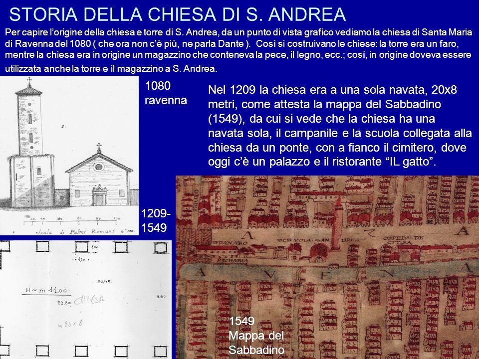 STORIA DELLA CHIESA DI S. ANDREA 1080 ravenna 1209- 1549 Per capire lorigine della chiesa e torre di S. Andrea, da un punto di vista grafico vediamo l
