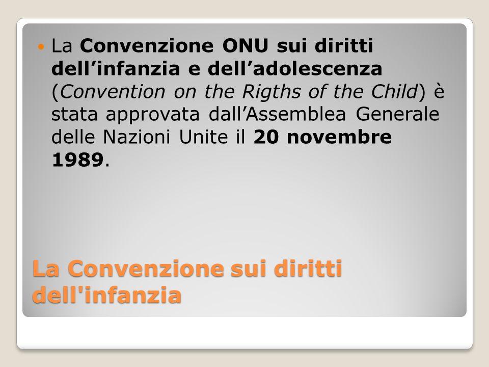 La Convenzione sui diritti dell'infanzia La Convenzione ONU sui diritti dellinfanzia e delladolescenza (Convention on the Rigths of the Child) è stata