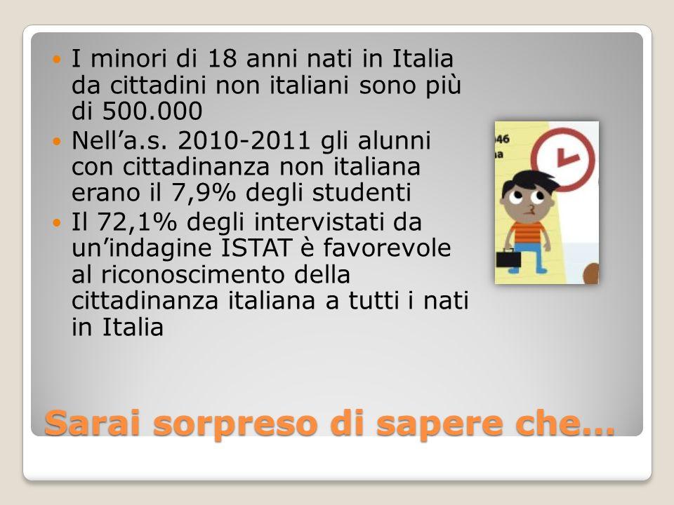 Sarai sorpreso di sapere che… I minori di 18 anni nati in Italia da cittadini non italiani sono più di 500.000 Nella.s. 2010-2011 gli alunni con citta